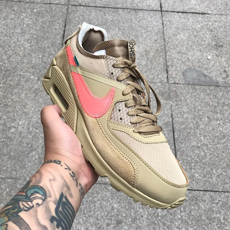 "timeless design f3f28 80781 Closer Look At The Off-White x Nike Air Max 90 ""Desert Ore"""