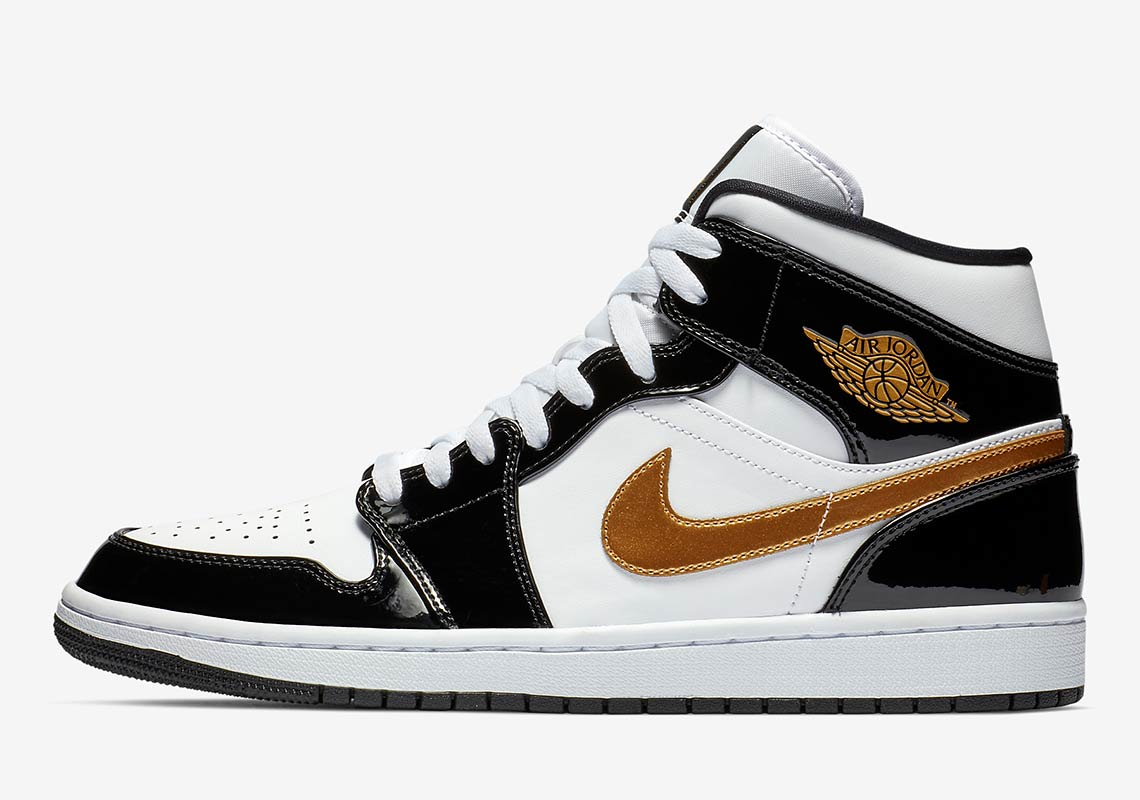 239b7b529581 The Air Jordan 1 Mid Returns To Black And Gold Patent Leather