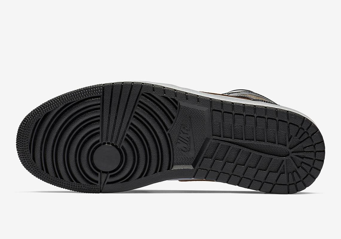 new product e8544 2de49 Jordan 1 Mid Black Gold Patent Leather Store List   SneakerNews.com