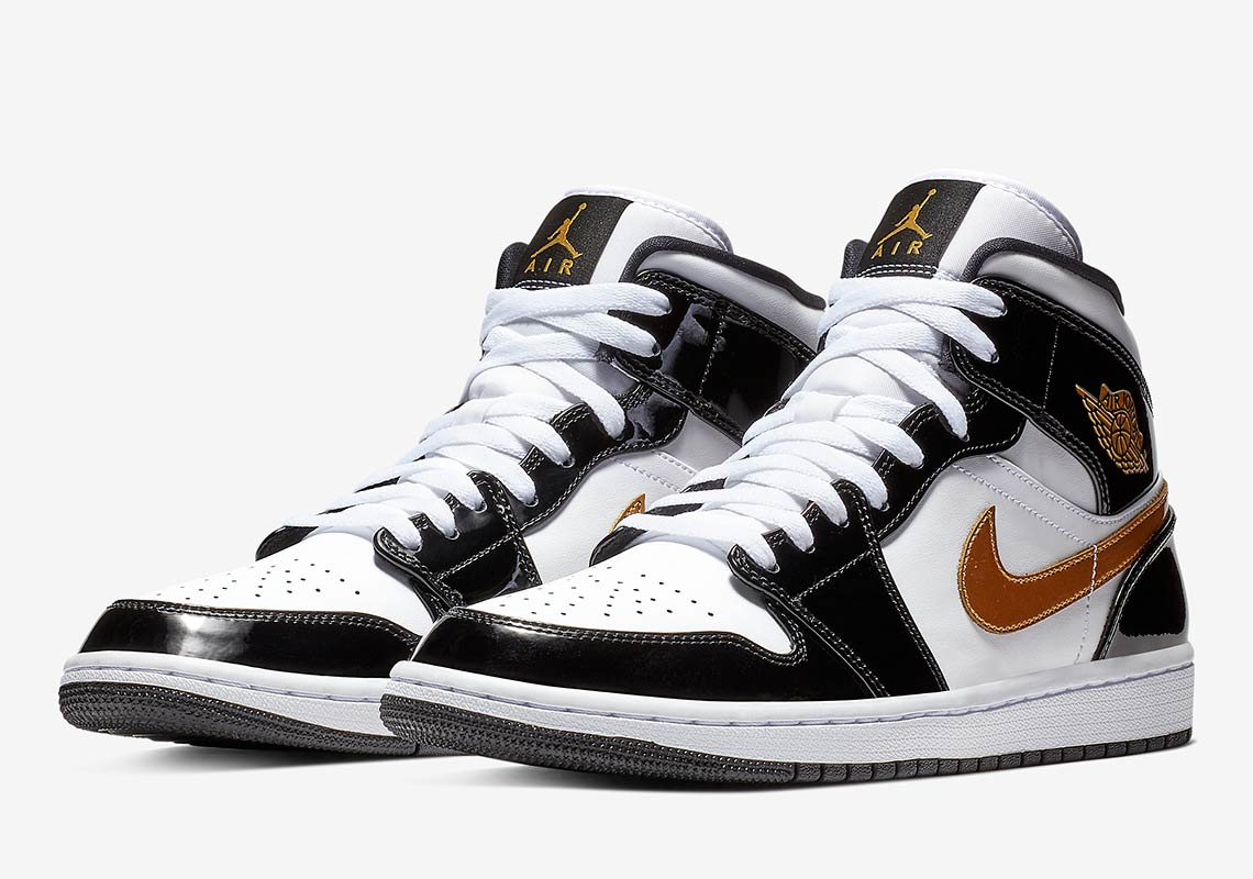 13dd3e2749 Jordan 1 Mid Black Gold Patent Leather Store List | SneakerNews.com