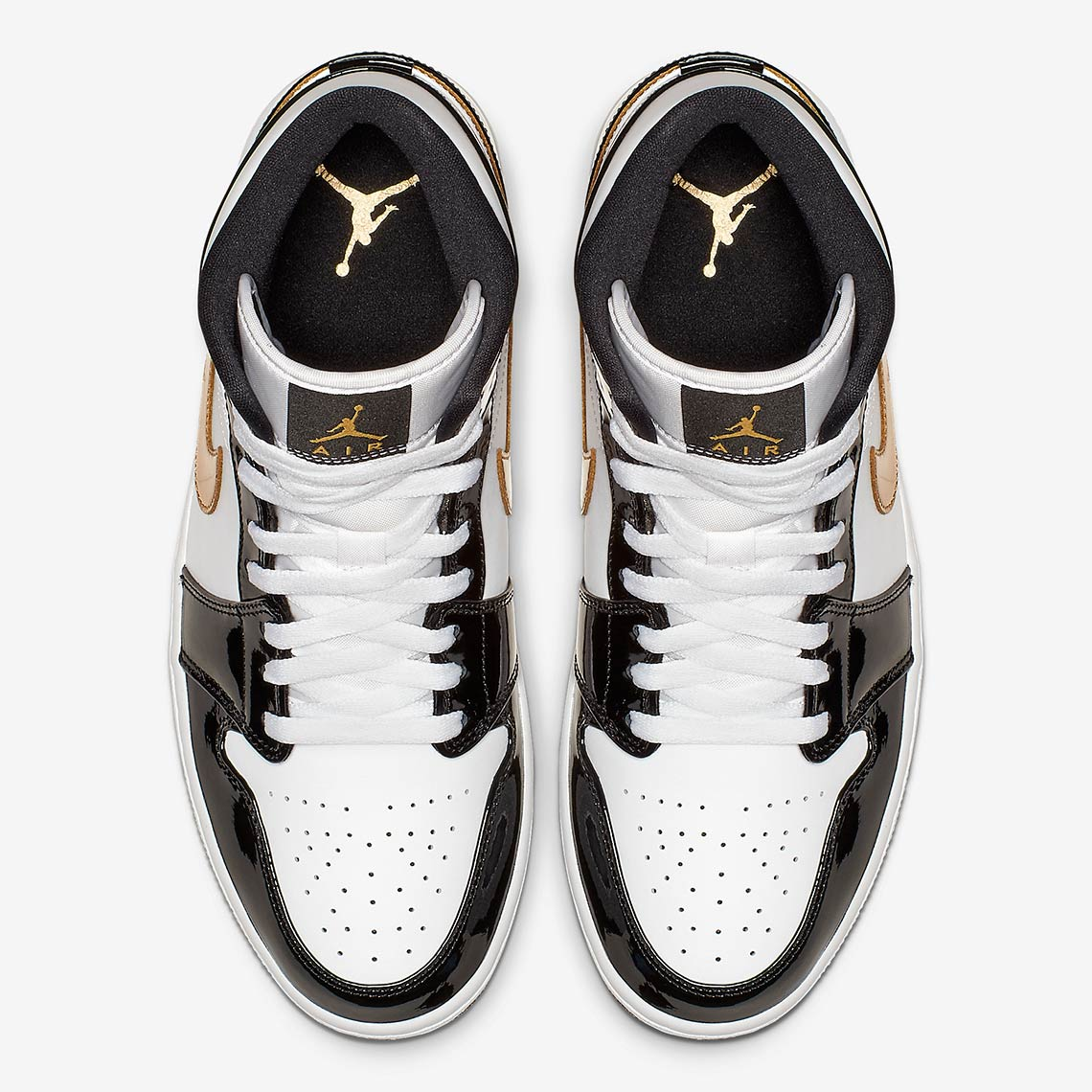 new product 01a60 0a39e Jordan 1 Mid Black Gold Patent Leather Store List   SneakerNews.com