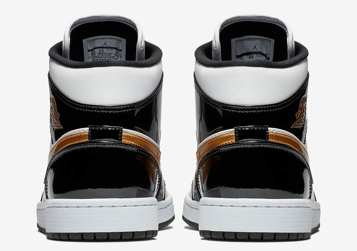 c3b6f4e756a Jordan 1 Mid Black Gold Patent Leather Store List