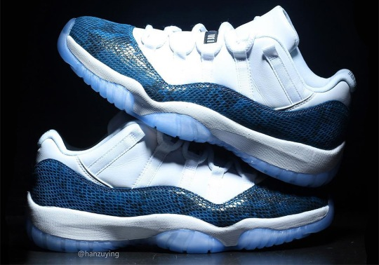 "Detailed Look At The Air Jordan 11 Low ""Navy Snakeskin"""