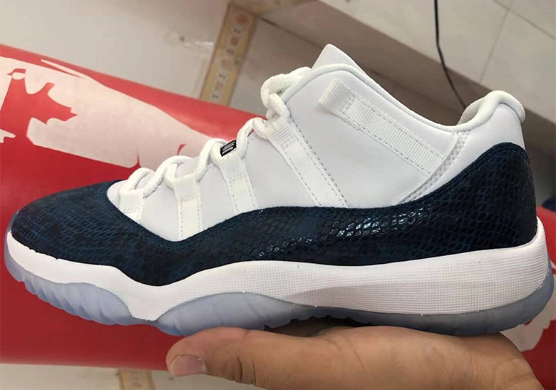 "new concept 4912f 47a12 First Look At The Air Jordan 11 Low ""Navy Snakeskin"""