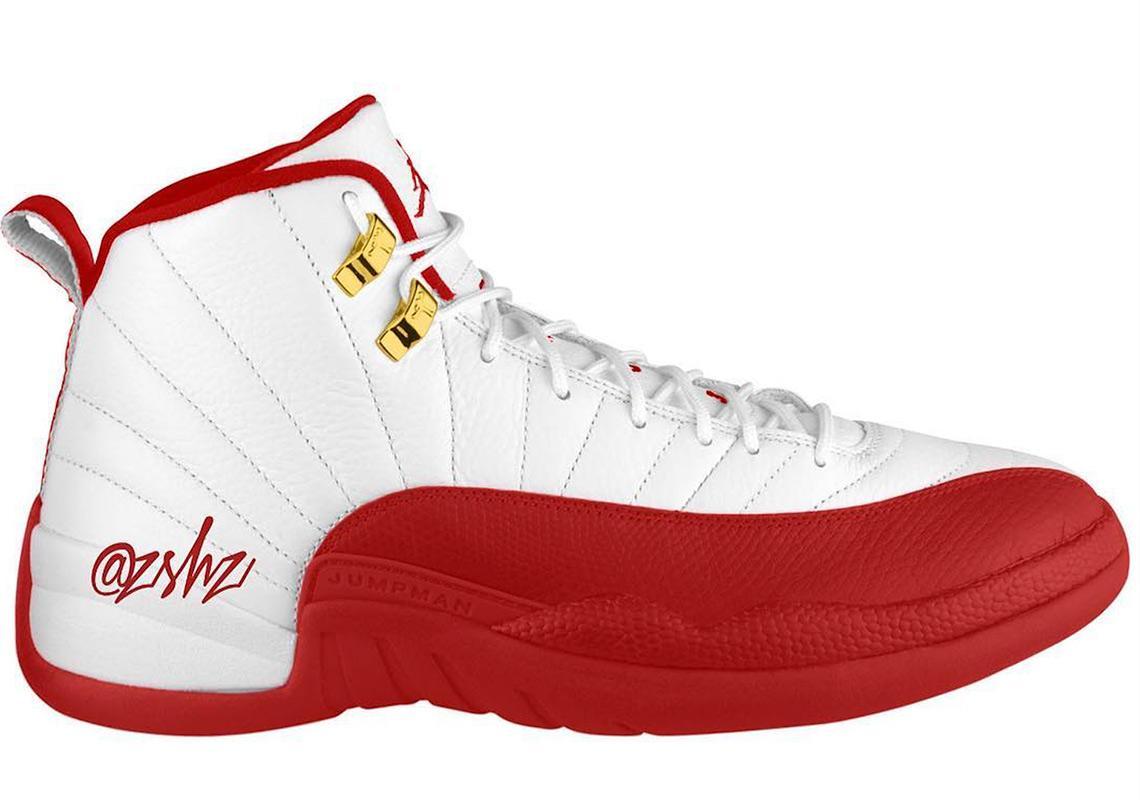 "watch 47865 c8462 Air Jordan 12 ""FIBA"" Release Date  August 24th, 2019  190. Color   White University Red-Metallic Gold"