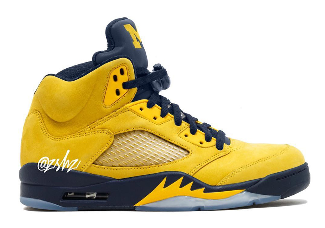 """best loved d5901 a89c6 Air Jordan 5 """"Michigan"""" Release Date  August 10th, 2019  225. Color   Amarillo College Navy-Amarillo"""