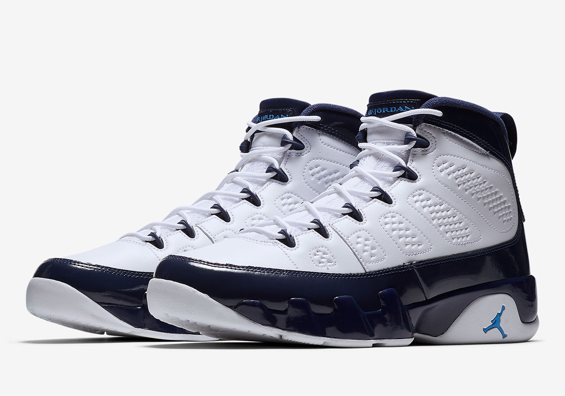 best website f56fd e88f5 More Info  Air Jordan 9 UNC Release Date  February 9th, 2019. Color   White University Blue-Midnight Navy
