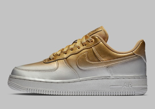 This Nike Air Force 1 Blends Gold And Silver Paint