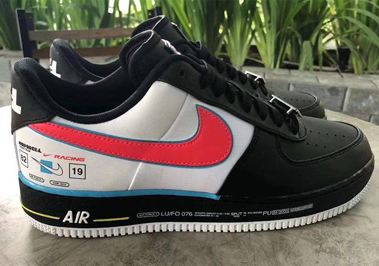 Racing Inspired Nike Air Force 1 AF1 Low Overbranded Black For Sale