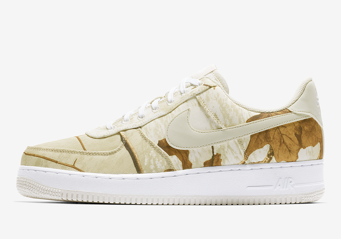"""new concept 20eb2 ce5aa Nike Air Force 1 Low """"Realtree"""" Release Date  January 4th, 2019  110.  Color  White Light Bone"""