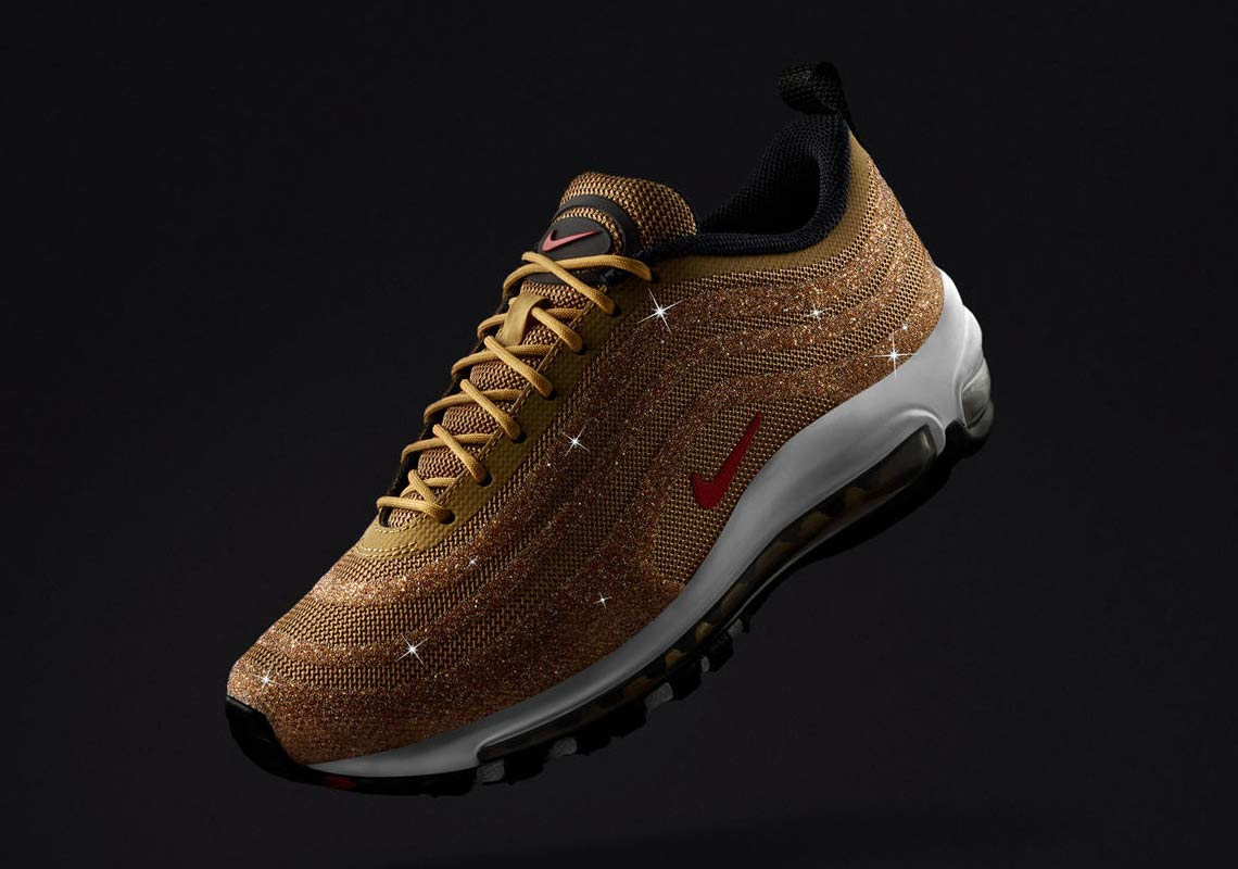 4275007681e The Nike Air Max 97 Swarovski Releases In Metallic Gold On December 26th