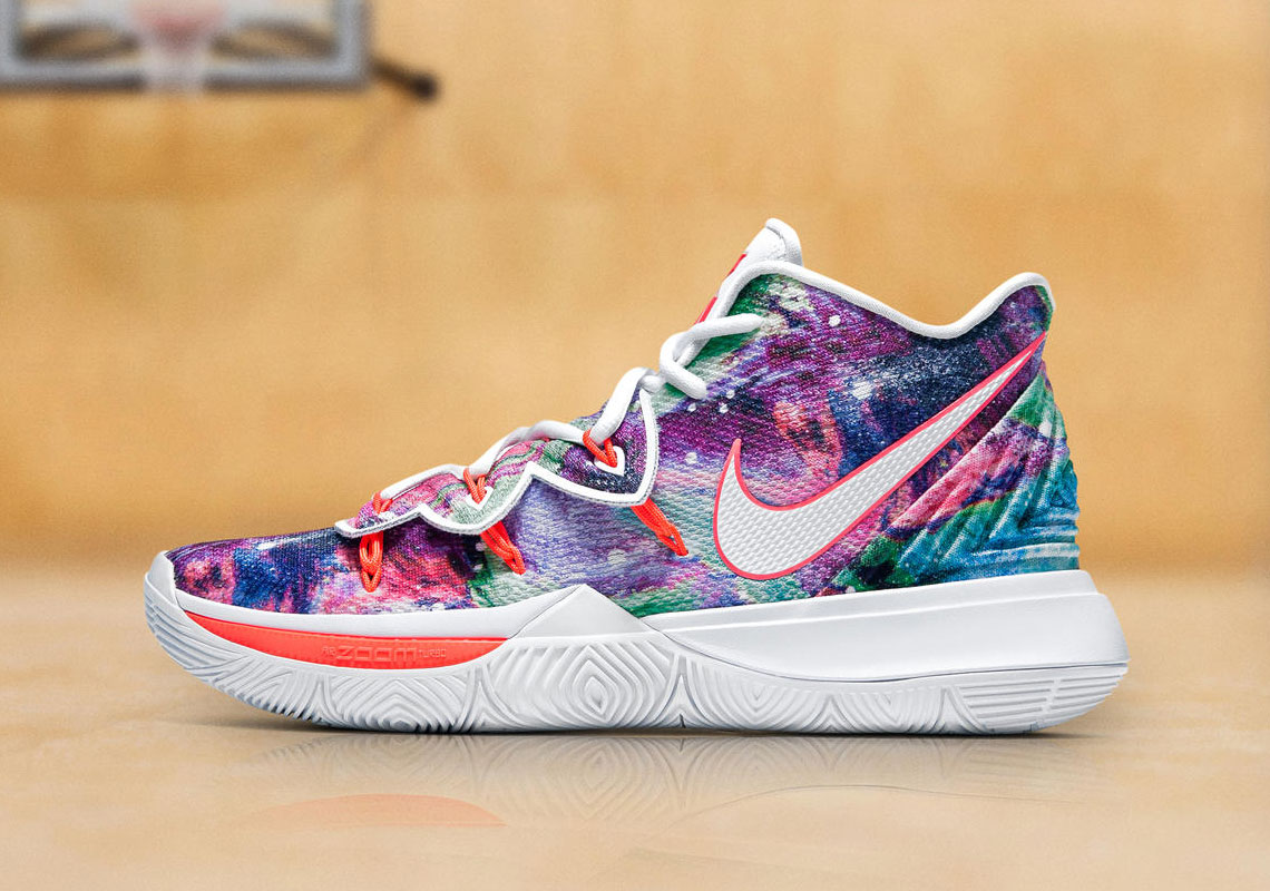 """free shipping b576b 0c612 Kyrie Irving s Debuts Nike Kyrie 5 """"Neon Blends"""" PE"""