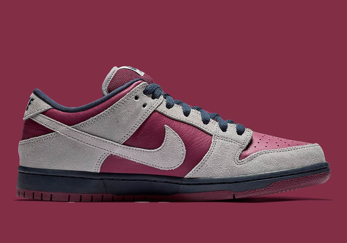 separation shoes 20ea6 b0ccc Nike SB Dunk Low Maroon + Grey Release Info   SneakerNews.com