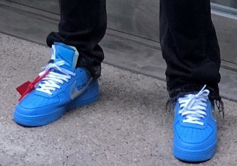 best sneakers f4315 b522d Virgil Abloh Spotted In Off-White x Nike Air Force 1 in Blue
