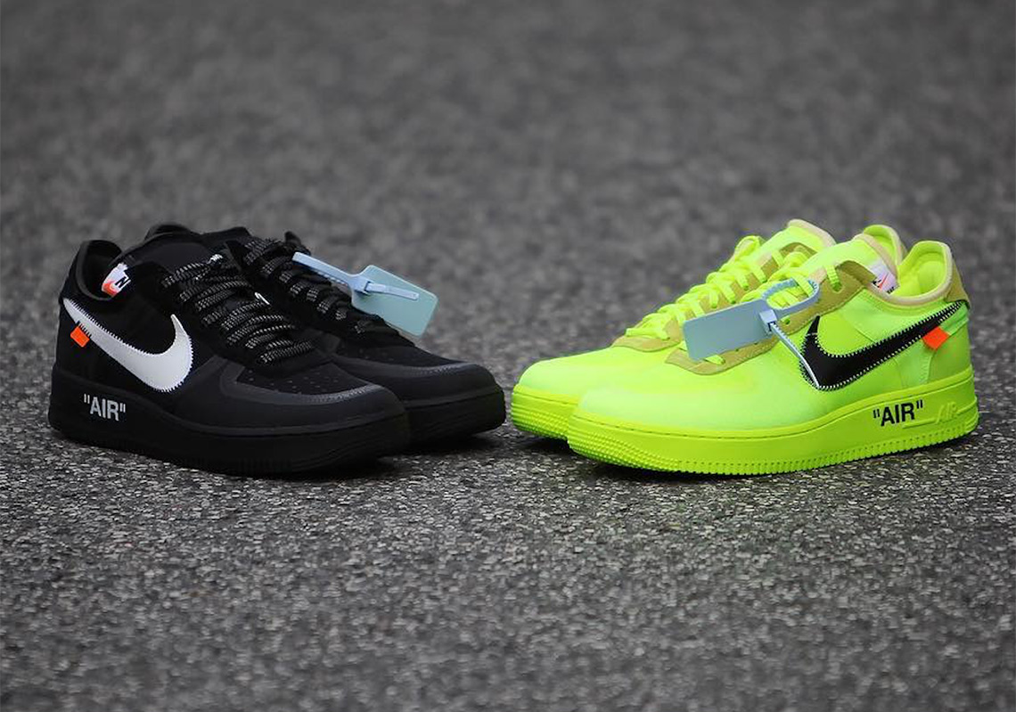 finest selection ba299 875b7 Off White Nike Air Force 1 Low Black + Volt Info ...