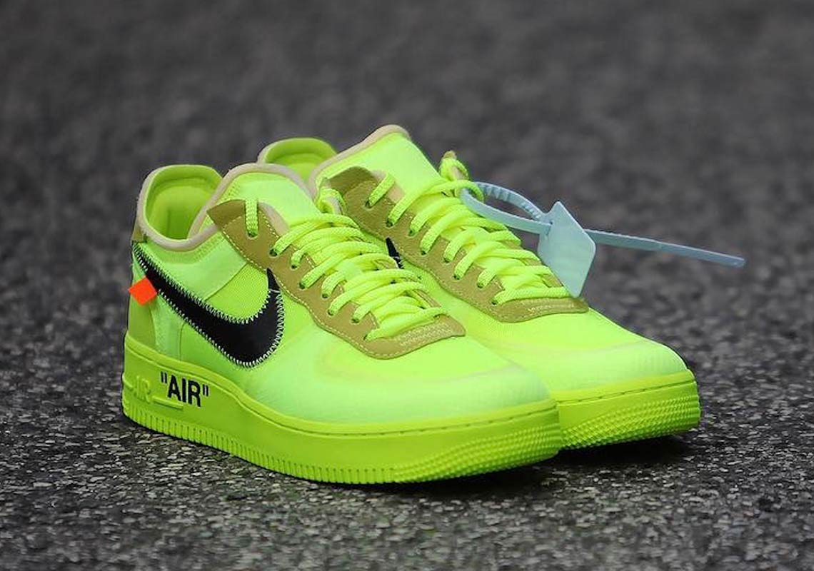 finest selection 29ef3 d682b Off White Nike Air Force 1 Low Black + Volt Info ...