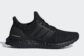 """594848839025a adidas Ultra Boost 4.0 """"Triple Black"""" Arrives With Gold Accents"""