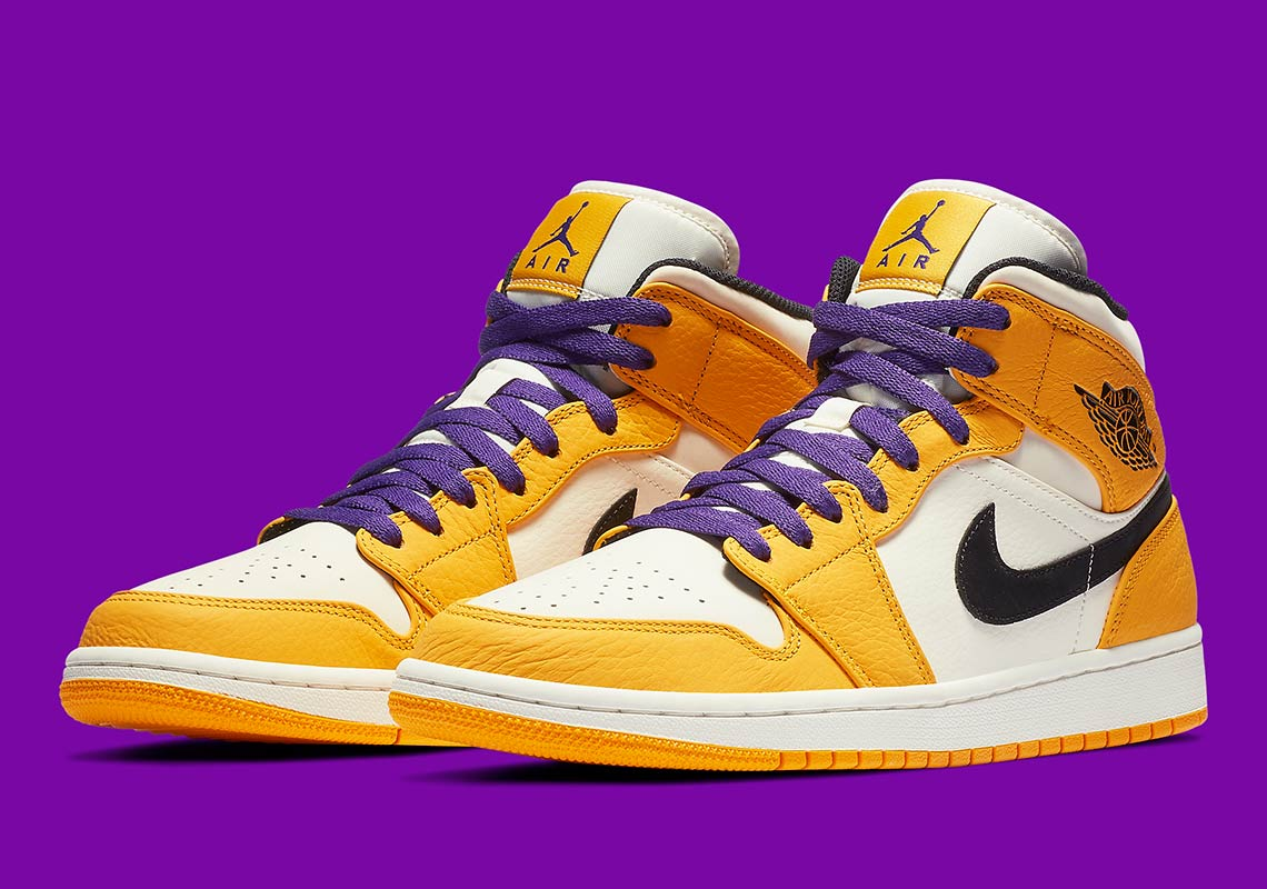 pretty nice 64ab5 b30ba Jordan 1 Mid Lakers 852542-700 Release Info   SneakerNews.com