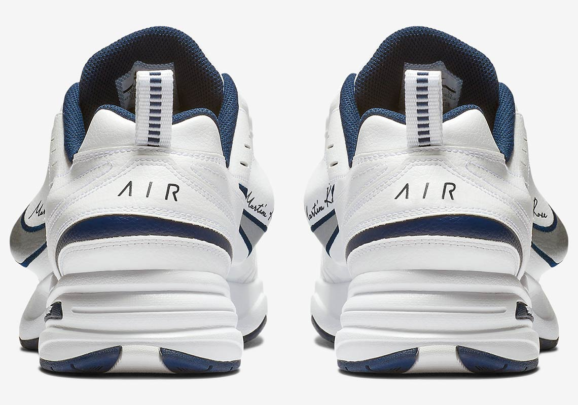 sale retailer 6c8a0 346ac Martine Rose x Nike Air Monarch IV Release Date  January 12, 2019  250.  Color  White Metallic Silver Midnight Navy
