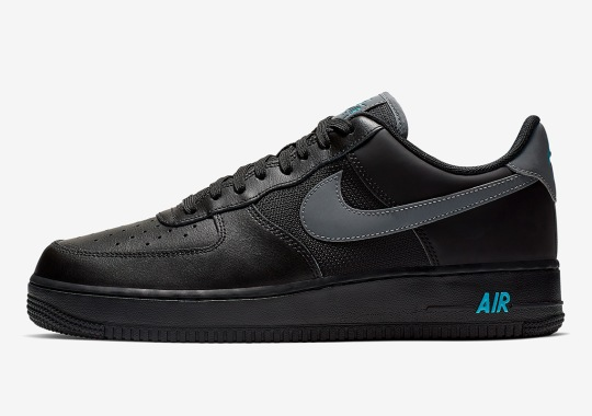 buy online 0d201 8a793 Nike Adds Light Blue Touches To A Black Air Force 1