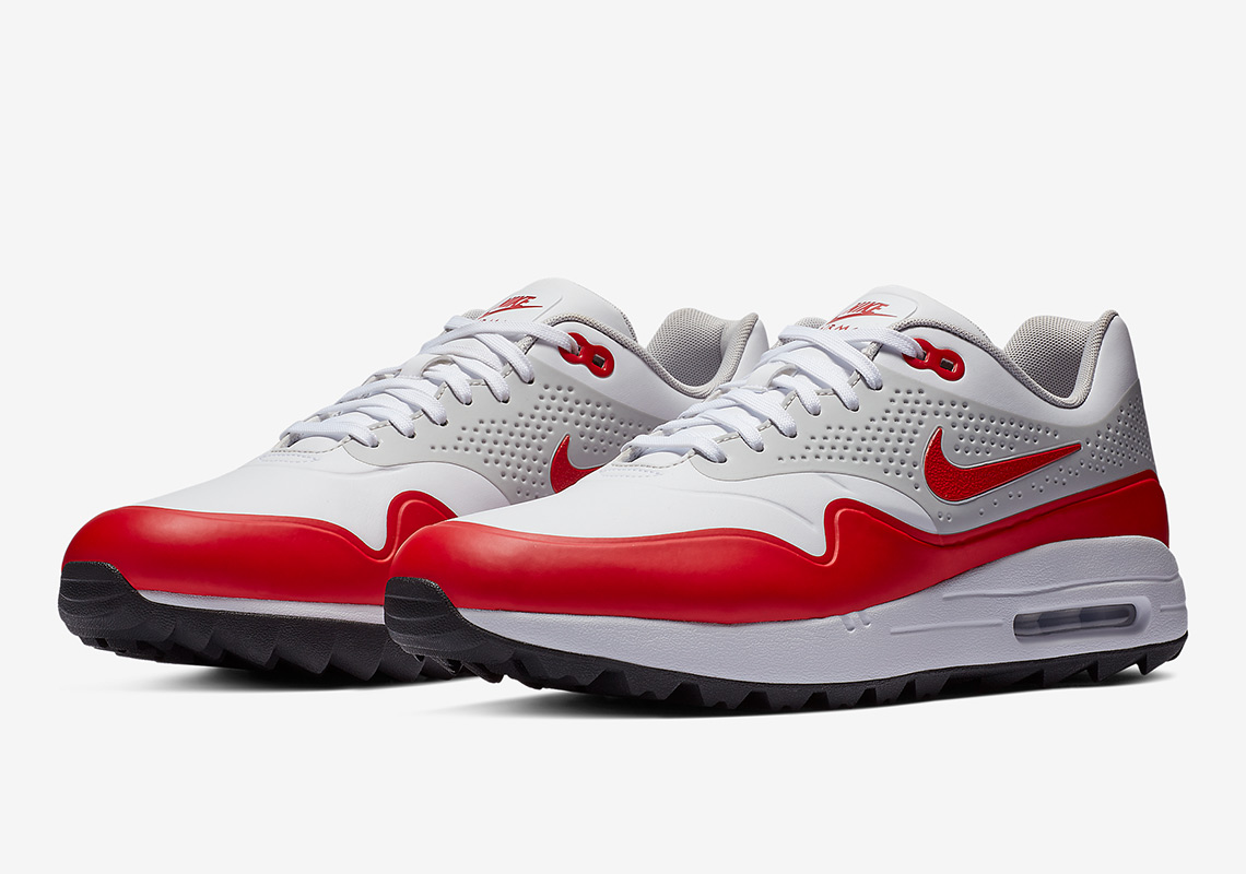 the latest 28987 aa472 Nike Air Max 1 Golf  120. Color White Neutral Grey-Sport Red Style Code   AQ0863-100