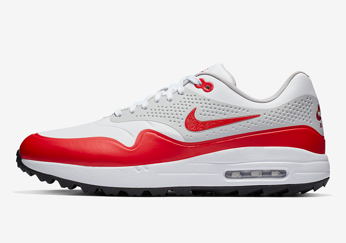 9e1260b640354 Nike Air Max 1 Golf  120. Color White Neutral Grey-Sport Red