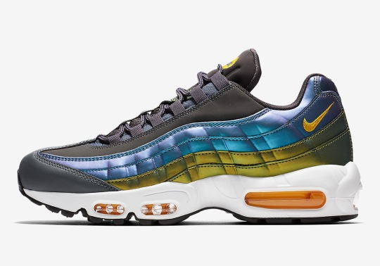 The Nike Air Max 95 Features Pearlescent Finishes With Blue And Gold