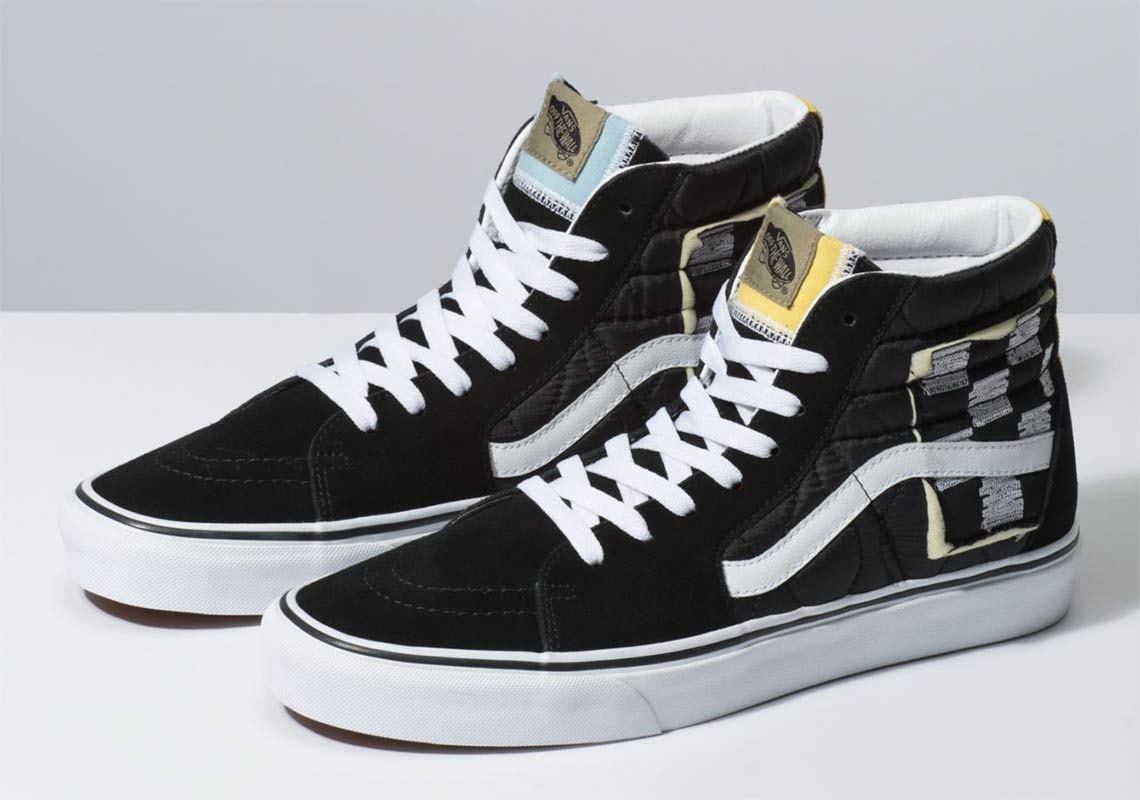 Vans SK8-Hi Mixed Quilting Black White Store List  bf98c3a92