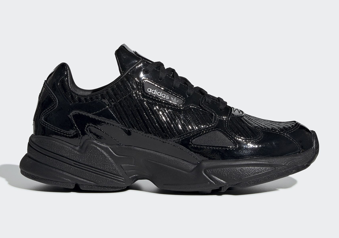 596c7c742e73 The adidas Falcon Is Dropping Soon In Glossy Black Textured Uppers