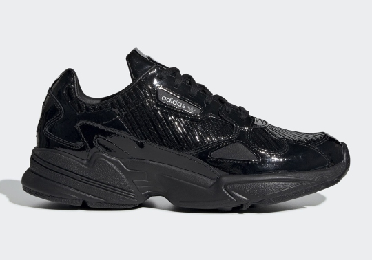 The adidas Falcon Is Dropping Soon In Glossy Black Textured Uppers