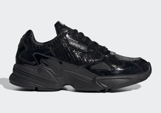 ae586b85971 The adidas Falcon Is Dropping Soon In Glossy Black Textured Uppers