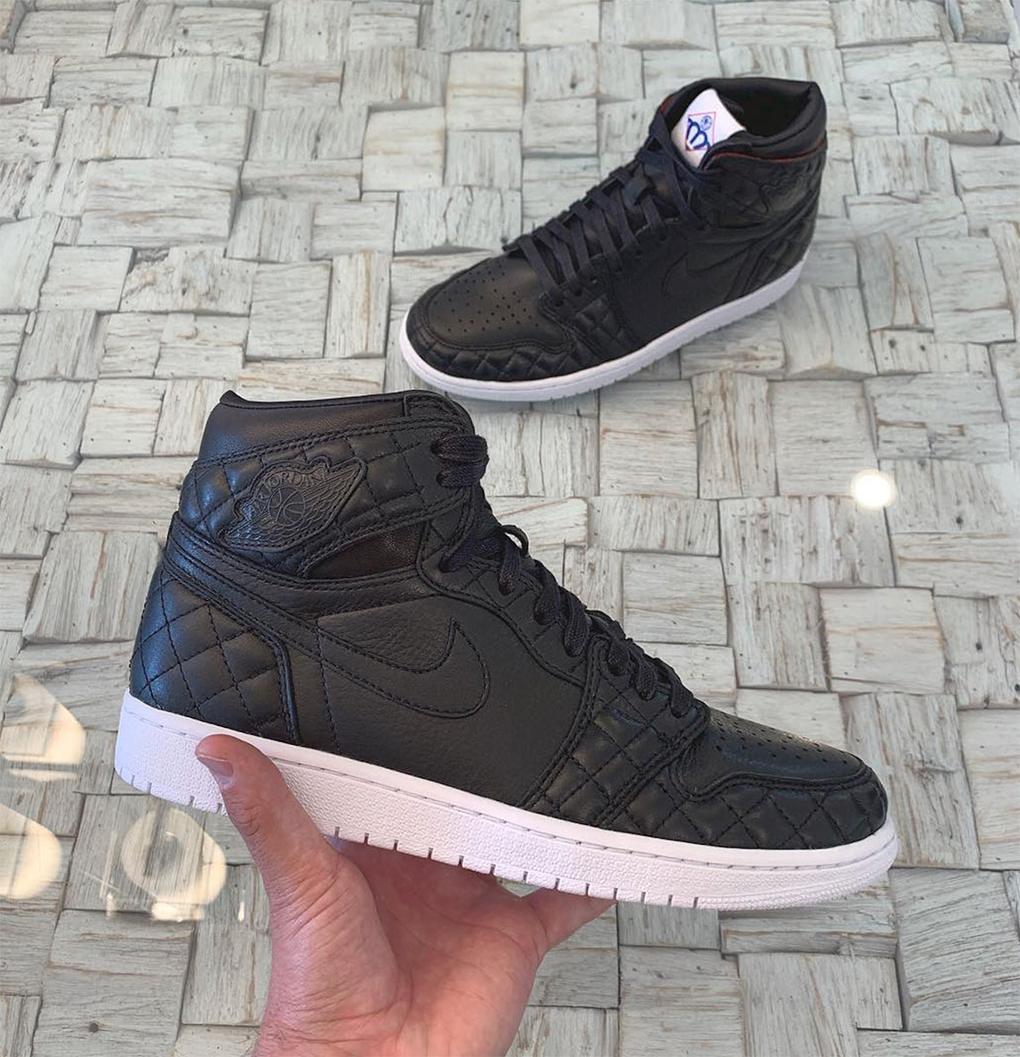 d0a59b93827 ... Air Jordan 1 Friends and Family All Star Black Quilted Leather