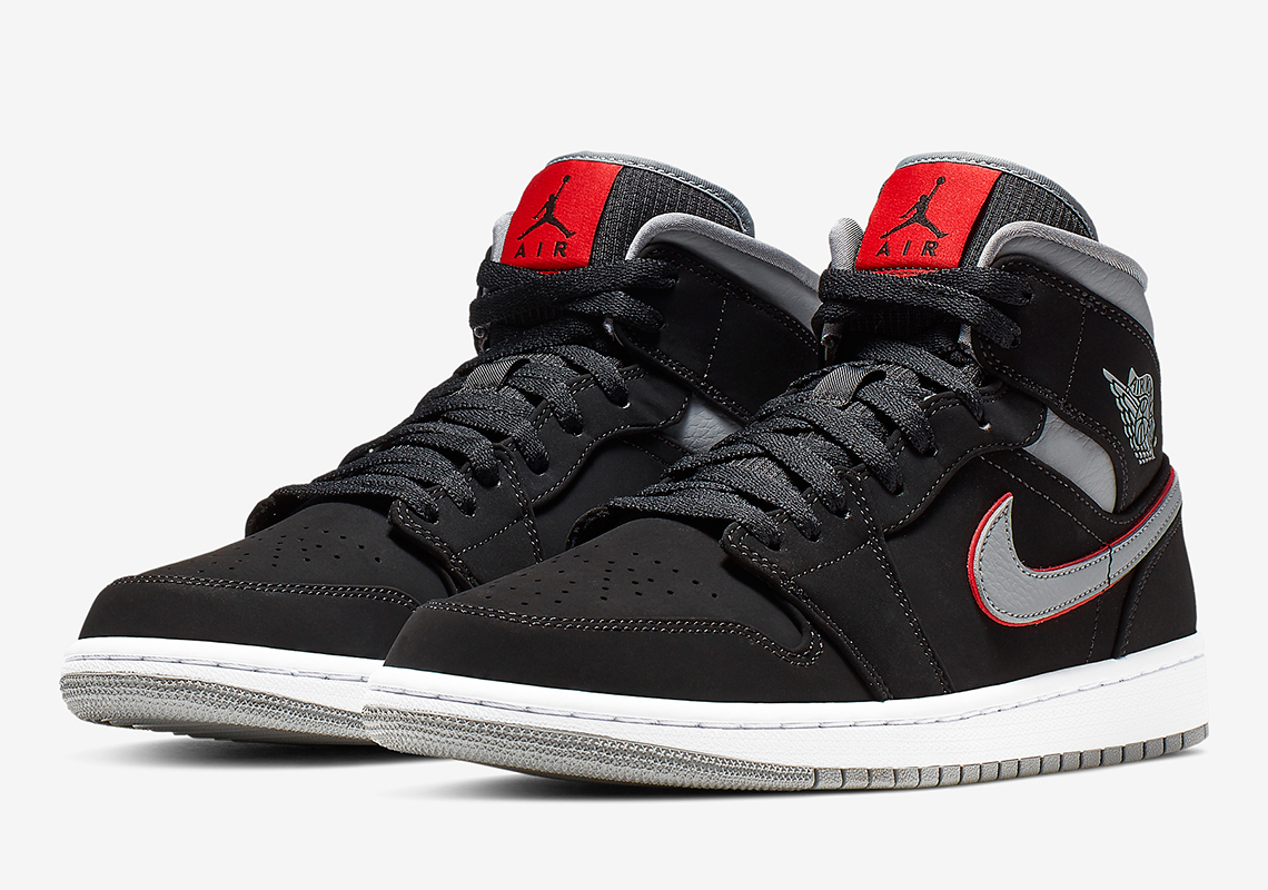sports shoes 82ee9 1cc96 Jordan 1 Mid Black Grey Red 554724-060 Info | SneakerNews.com