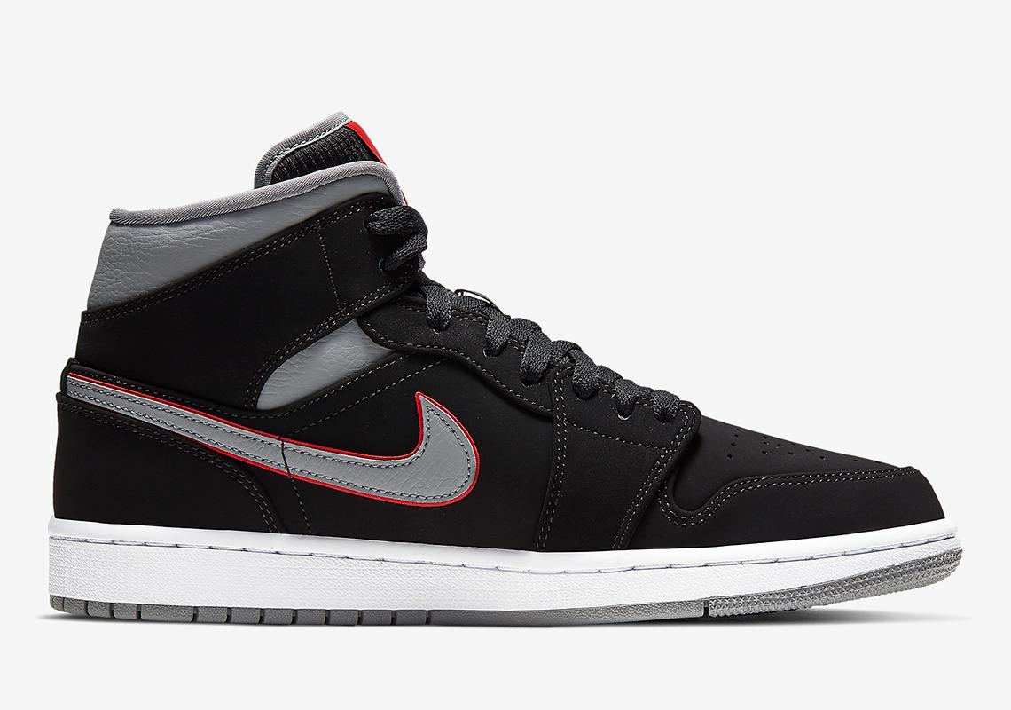 836ea69f2a032 Jordan 1 Mid Black Grey Red 554724-060 Info
