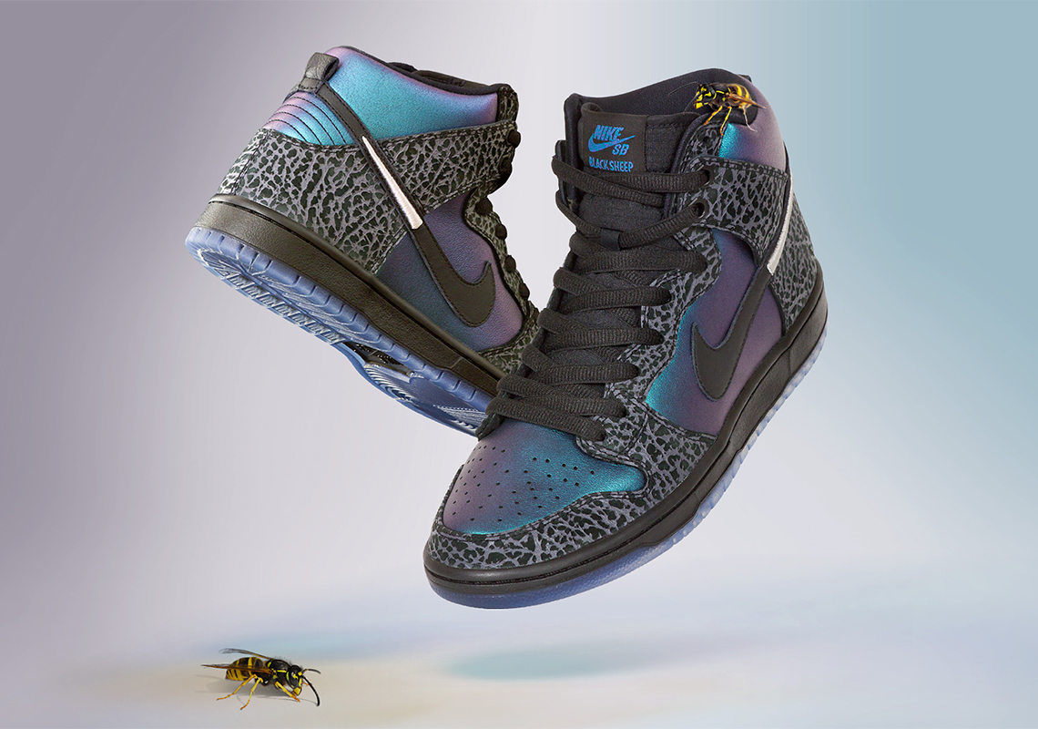 "Charlotte s Black Sheep Skate Shop Celebrates All-Star With The Nike SB Dunk  High ""Black Hornet"" 3ffeba1d8"