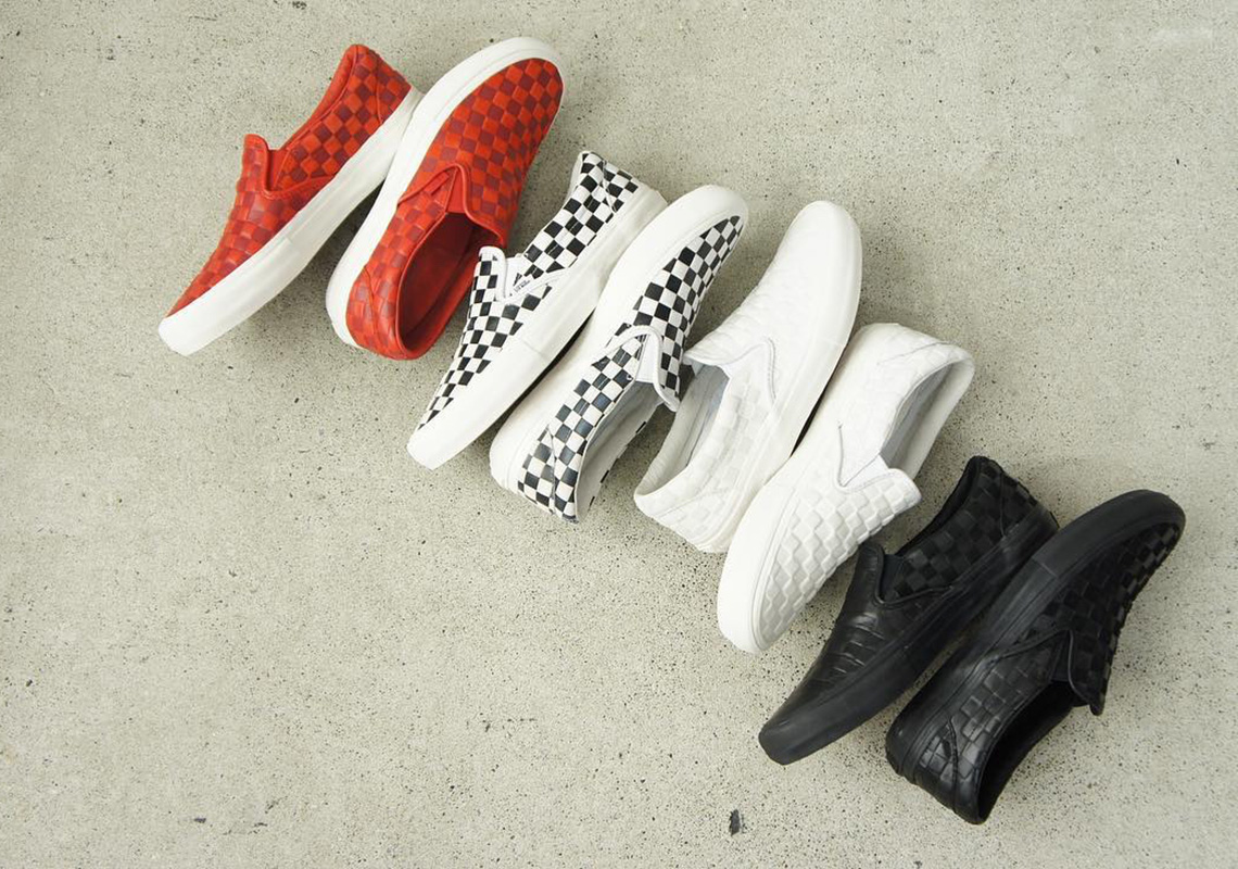 97737babdf Engineered Garments And Vans Work On Leather Checkerboard Slip-Ons