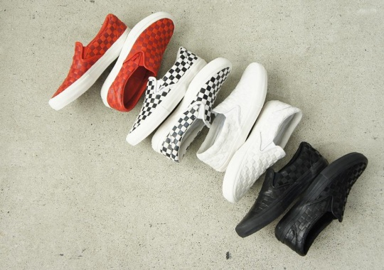 Engineered Garments And Vans Work On Leather Checkerboard Slip-Ons