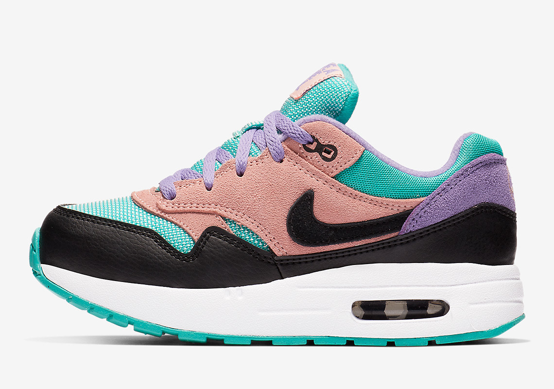 buy popular 3ebf7 b154e Nike Air Max 1 Little Kids Release Date March 1st, 2019. Color  BlackWhite-Space Purple-Bleached Coral