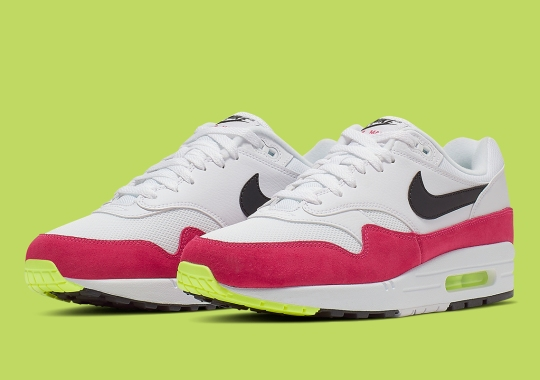 hot sale online 641e0 22070 This Nike Air Max 1 Features Bold Volt And Rush Pink Accents