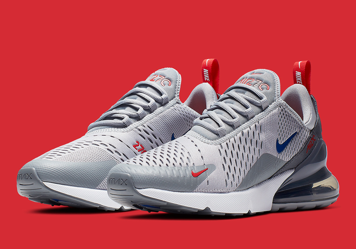 sale retailer 6cb64 020e0 Nike s Air Max 270 Mixes Wolf Grey With Game Royal And University Red