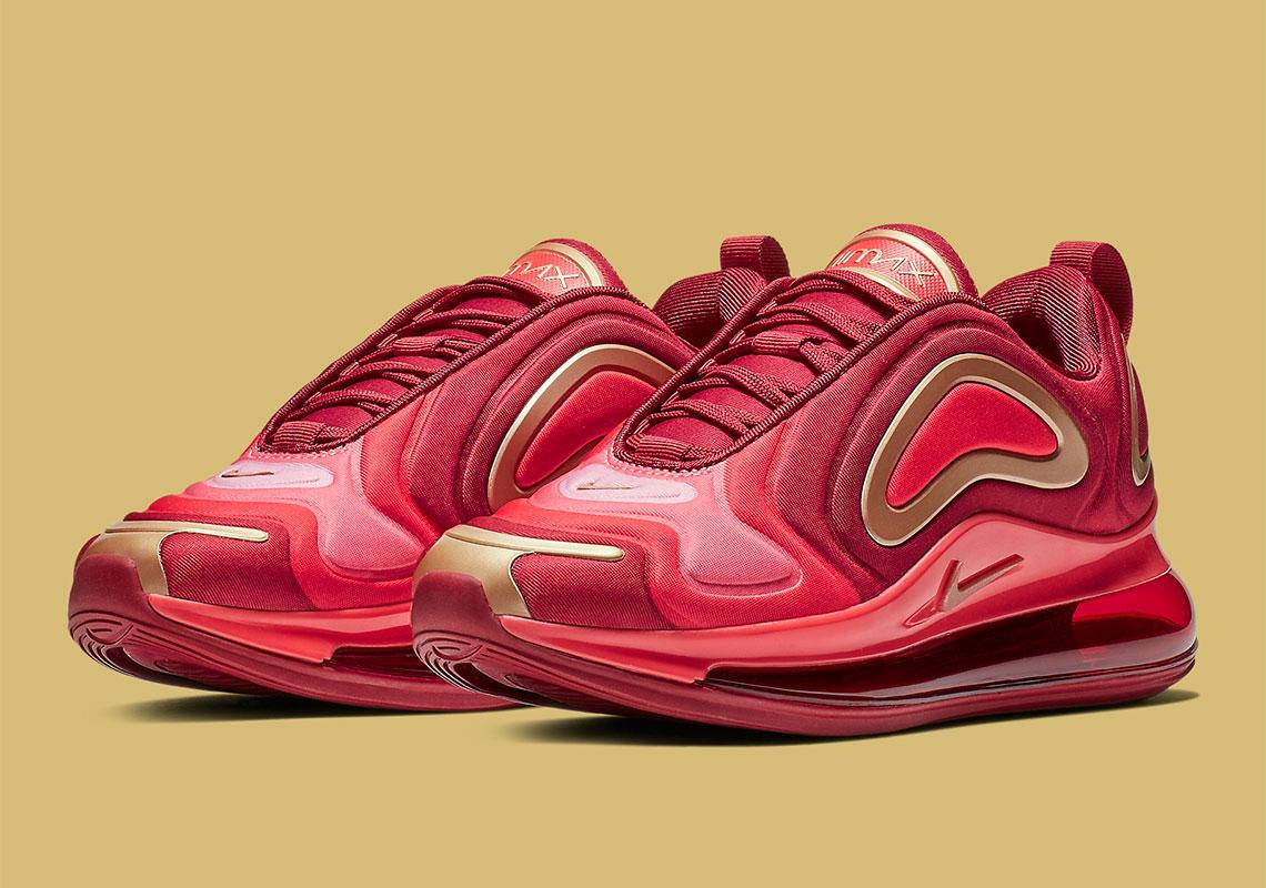 sale retailer 52fa5 6ed68 Nike Air Max 720 Kids Crimson + Gold AQ3195-600