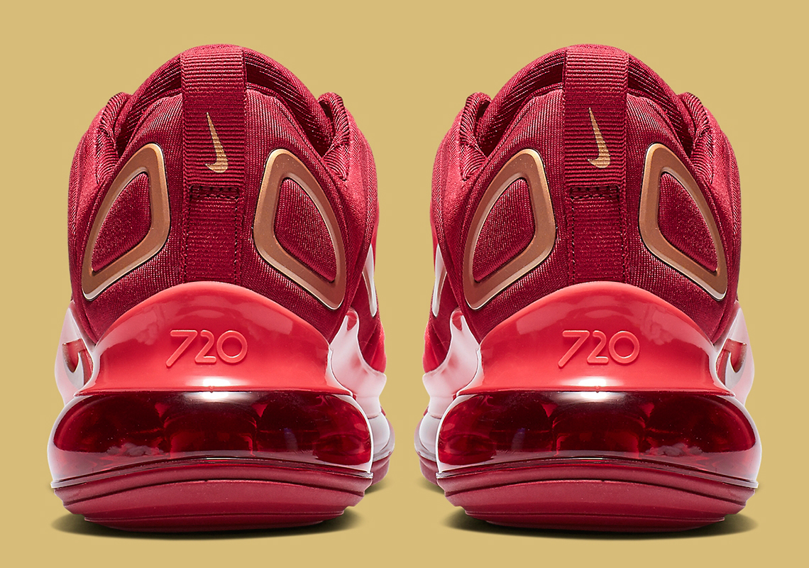 cb298f6a8 Nike Air Max 720 Kids Crimson + Gold AQ3195-600 | SneakerNews.com