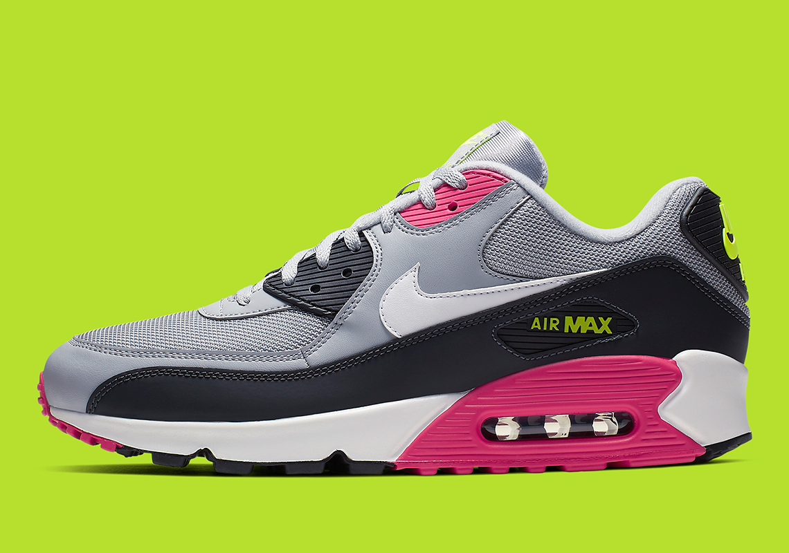 b7cc03692282 Nike Air Max 90 Grey Pink Volt AJ1285-020 Info