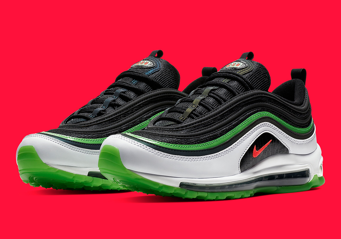 Nike Air Max 97 Dallas Black Bright Crimson White Rage Green CD7788 001 | eBay