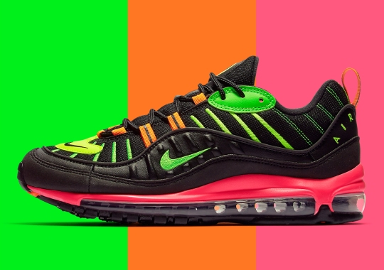 """brand new f2396 044c3 Nike Air Max 98 """"Highlighter"""" Features Four Neon Tones On Black"""
