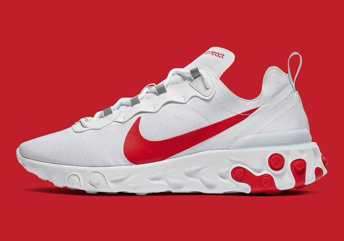 half off ef1d5 6898d Nike React Element 55 Features Bright Crimson On A White Base