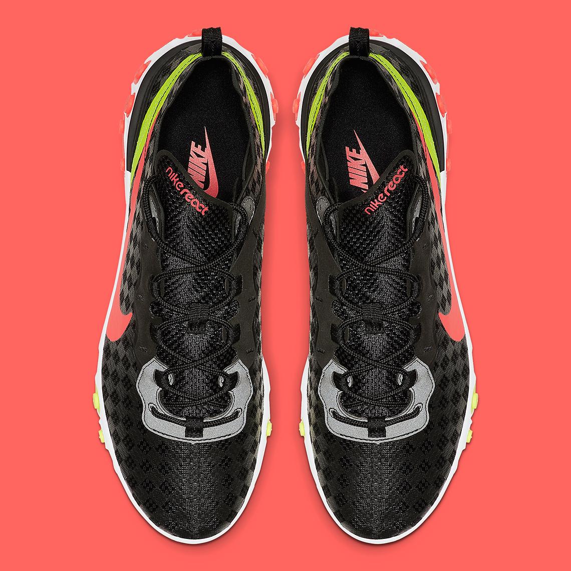 new high quality reasonable price reliable quality Nike React Element 55 Black Crimson Volt CJ0782-001 ...