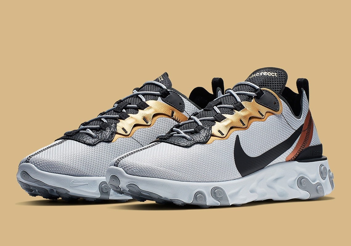 Nike React Element 55 Silver Gold CD7627 001 Info
