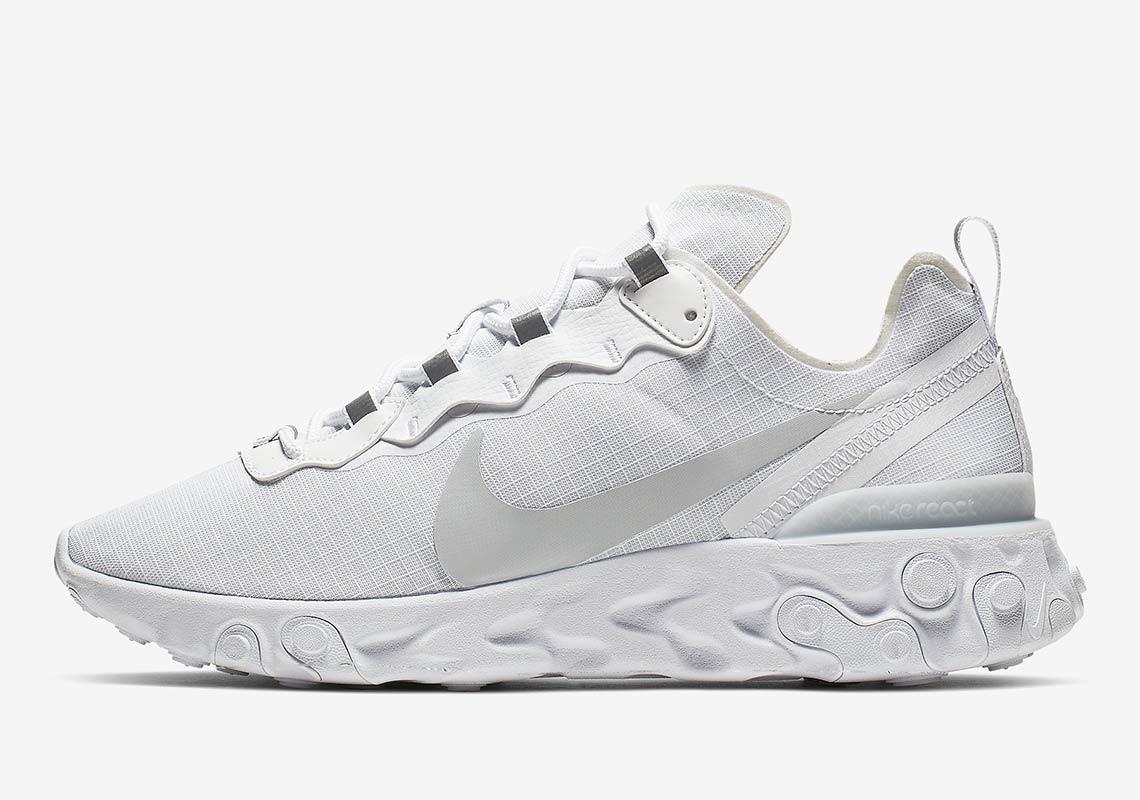 8b6e37f254ffc Nike React Element 55 All White BQ6167-101 Info