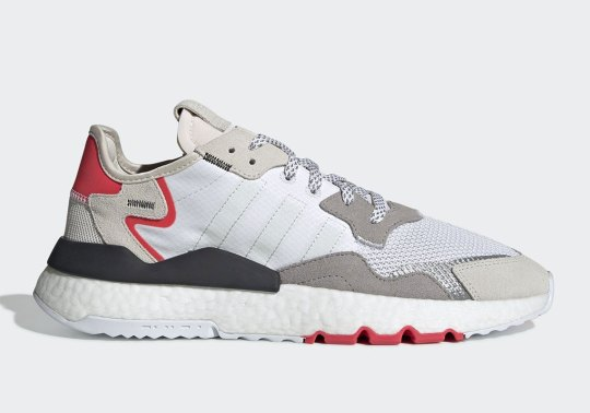 The adidas Nite Jogger In Light Grey And Red Drops In April